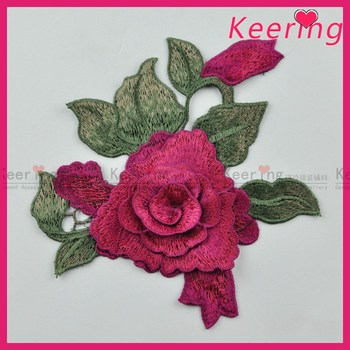 Handmade 3D flower applique embroidery pattern for wedding dress decoration WEF-012