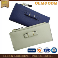New product beautiful bowknot design bifolding leather long ladies clutch purse