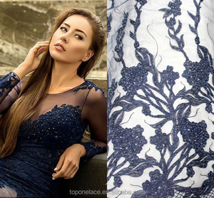 wholesale new arrival royal bule french lace fabric water soluble lace / chemical lace fabric/cord lace