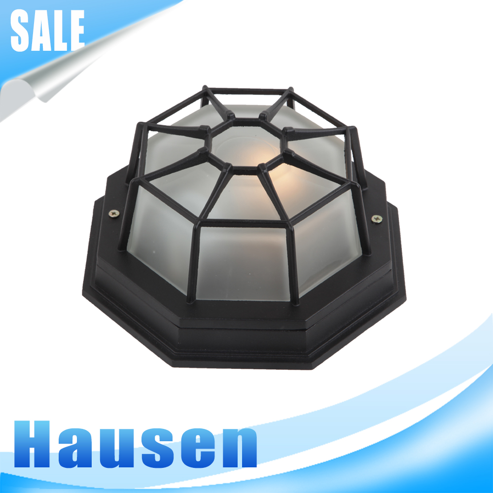 Black metal cubic vintage ceiling light simple style ceiling lamp with glass lampshade