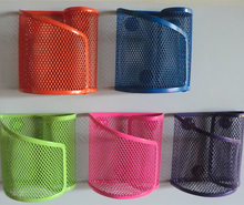 colorful metal mesh magnetic pen stand pencil holder