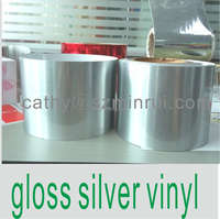 Gloss Silver vinyl sticker material, PET Vinyl Sticker papers rolls ,Permanent Adhesive Stickers PET Material