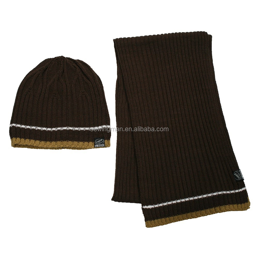 Cold Weather Hat And Scarf Plain Knitted Hat Scarf Set Lining Polar Fleece