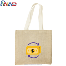 2018 New Design Promotional Fashion Custom Jute Tote Bag Women Burlap Handbag