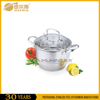 Popular stainless steel soup pot / stock pot / cooking pot with glass lid