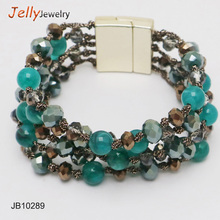 7 color new style wholesale four rows colorful colored crystal beads magnetic bracelet for girls
