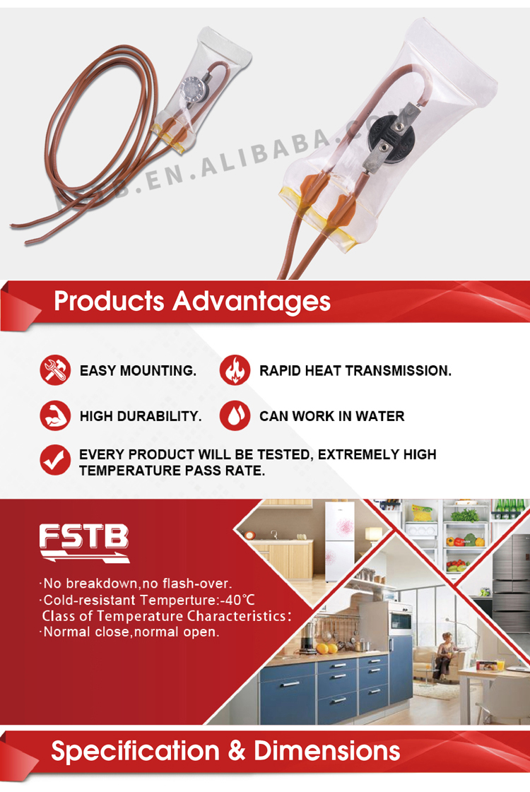 FSTB KSD303 Bimetal Thermostat thermal fuse for refrigerator fuse 10A 250V