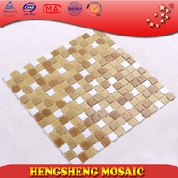 Yellow and white ceramic mosaic tiles swimming pool mosaic glass LS34