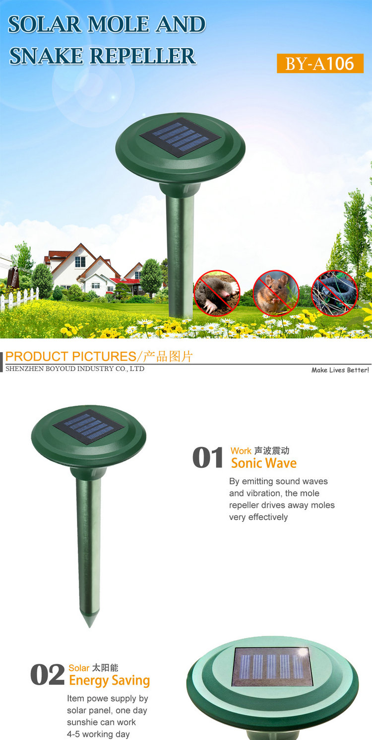 China supplier garden yard outdoor pest control solar snake chaser