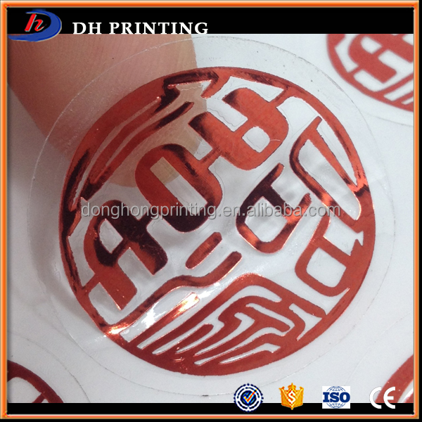 Custom Round Logo Print Transparent Glass Pvc Stickers