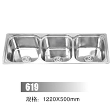 Stainless steel 3 bowls chrome color cheap undermount kitchen sink