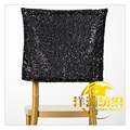 Fashion design black sequin wedding chair cover hood chair caps