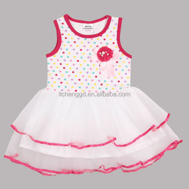 (H4170) white 2-6Y Girls red and white polka dot tutu princess dress with corsage