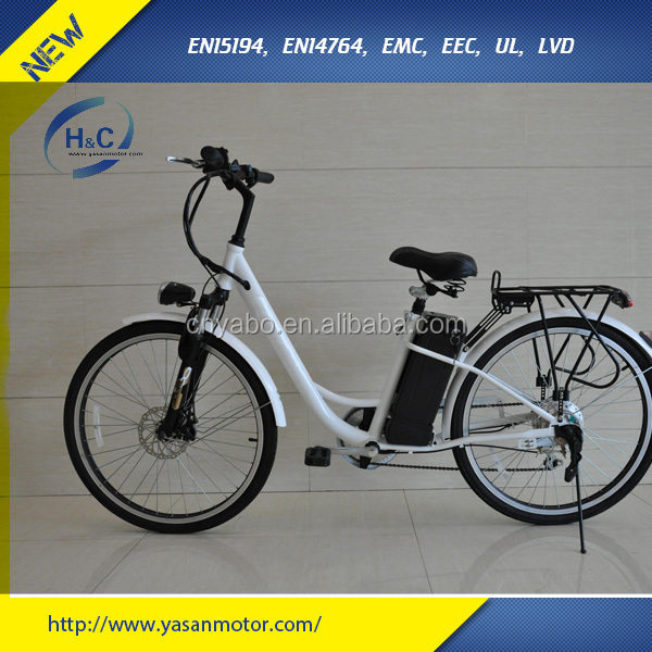 "Hot sales 26"" White Fashion Electric Bicycle with Pedals & 6-speed-gears & rear rack"
