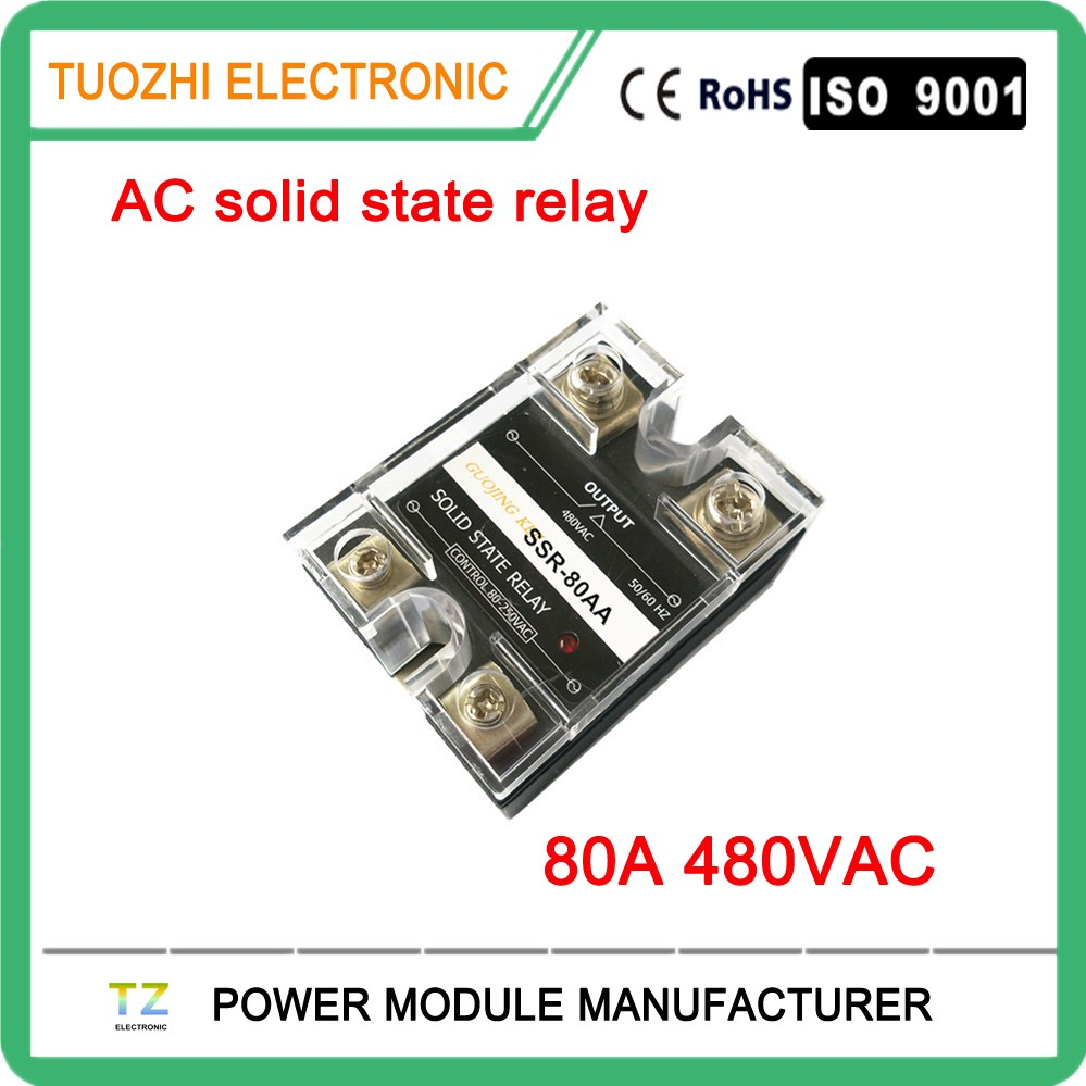 Single phase ac solid state relay 80a ac to ac ssr 480vac SSR-80AA