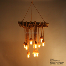 American Country Style Vintage Lamp Bamboo and Manual Rope Pendant Light Modern Hanging Light Art Metal Lamp for Home Decoration