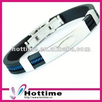 fashion silicone steel bracelet with negative ion