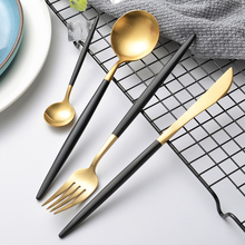 Hot Sale turkish tableware stainless steel plated black handle restaurant gold cutlery set