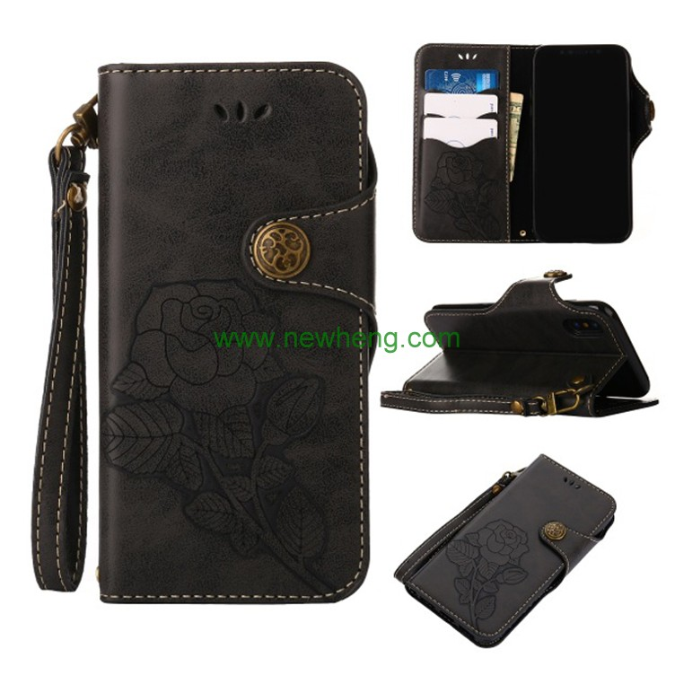 Retro rose flower leather wallet phone case for iphone X