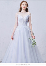 Lavender lace appliqued colored bridal strapless marriage gown Off-The-Shoulder V-line wedding dress TS151