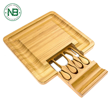 Cheese Cutting Board Square, 4-Piece Cheese Board, Cutting Board & Cutlery Set with Slide-Out Drawer