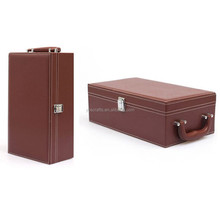 custome logo faux leather wine carrier made in China