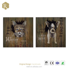 Unique Home Decoration Handmade Oil Painting 3D Animal Pictures of Cat On Alibaba