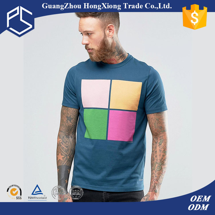 Hongxiong Latest Style Fashionable 180 Grams Short Sleeve Cotton Round Neck Blue Print Men Equalizer T Shirt