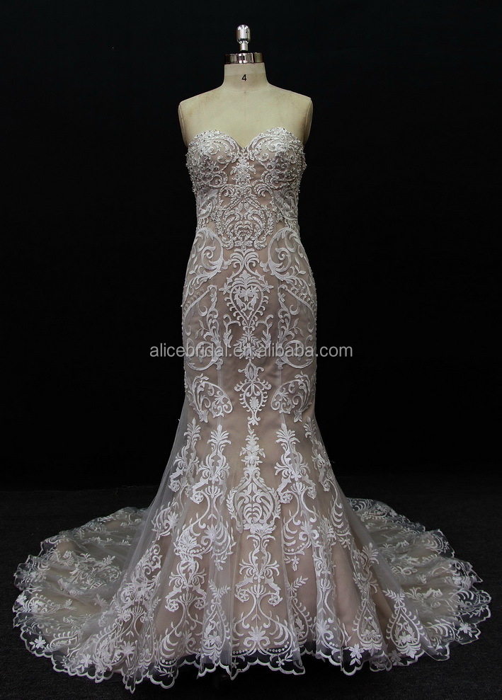 hot sell sleeveless wedding dress appliqued tulle Mermaid sweetheart wedding dress