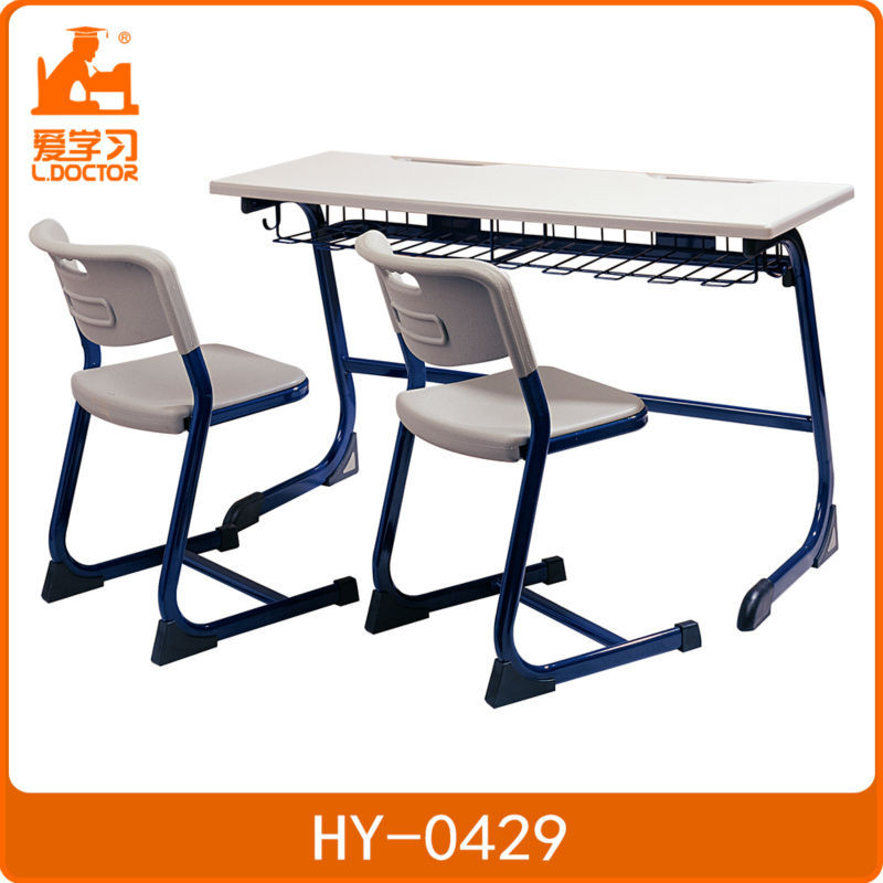 school student sets wooden double school desk and chair