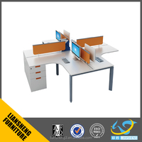 Top Sale L-shaped working station for staff used office partition computer desk