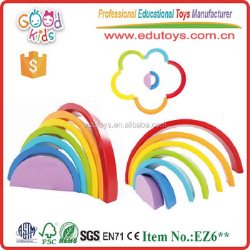 Large 7 Piece Rainbow Stacker Nesting Wooden Blocks Game