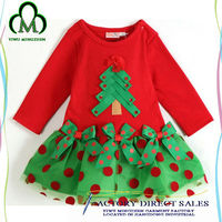 Wholesale 100%cotton dress long sleeve girls party dresses for Christmas