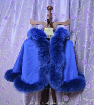 new design style children cashmere cape with detachable hooded and fox fur trim