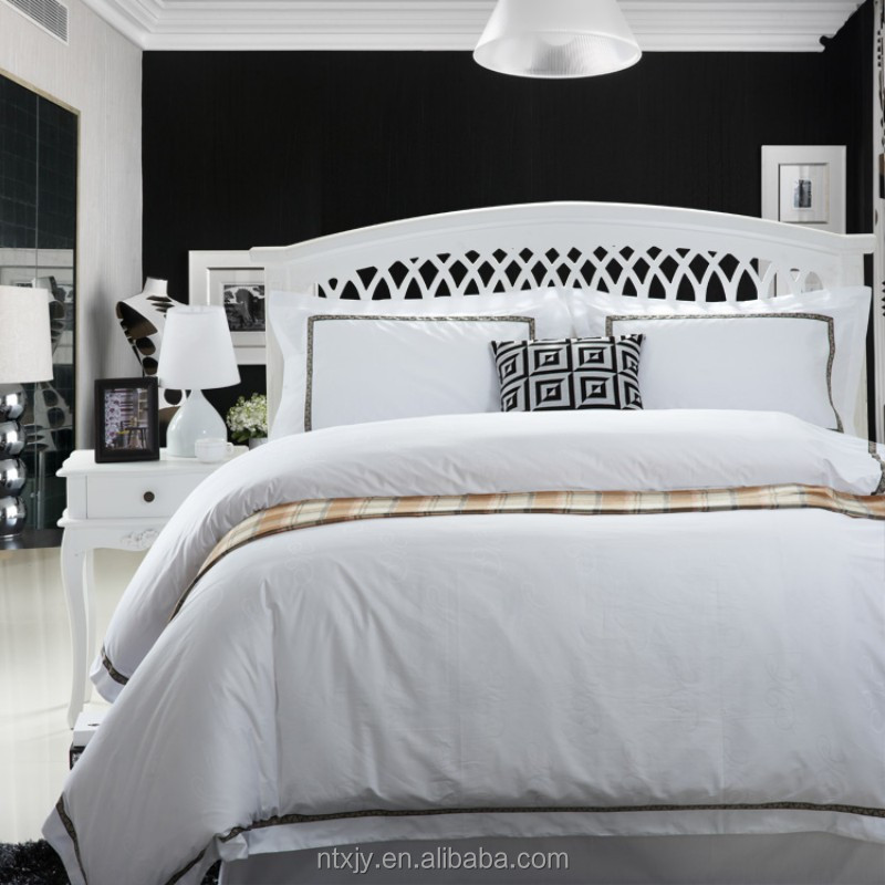 Embroidery luxurious 400t white hotel bed sheets