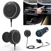 NFC Car Kit 3.5mm Bluetooth 4.0 Audio Receiver Hands-free Stereo Music Aux Speakerphone with 3.1A Dual USB Phone Car Charger