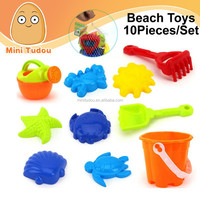 Summer Funny Beach Toys In Mesh Bag Plastic Beach Buckets And Spades Toy 10 PCS/Set