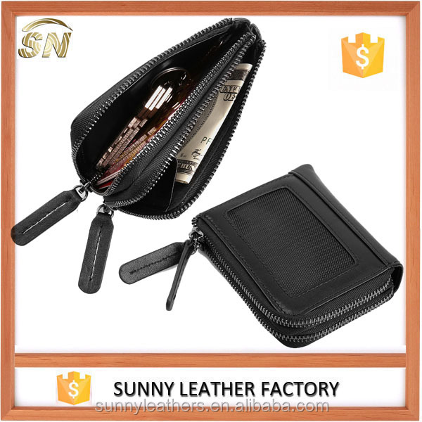 Soft real cowhide leather double zipper small wallets with key ring