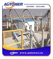 Adjustable aluminum step ladders oil depot staff working platform, liquid chemical warehouse operating station