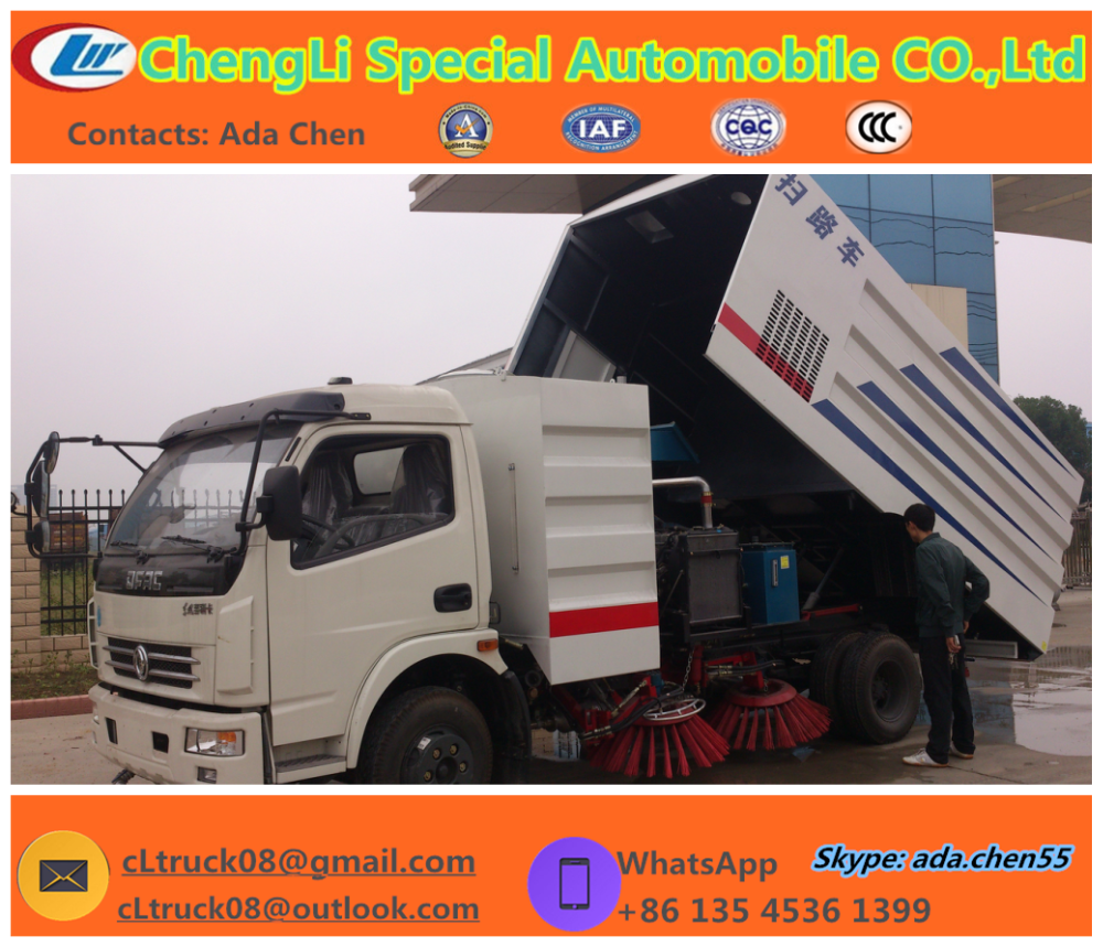 95hp Vacuum Parking Lot Sweepers Truck/5000kg Snow Broom Sweeper