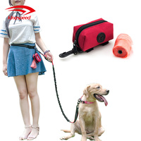 Premium quality zippered pouch poop waste bag holder dispenser for any dog leash and waist belt