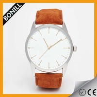 Fashion customized brushed IP coated alloy case with natural leather strap watch wholesale