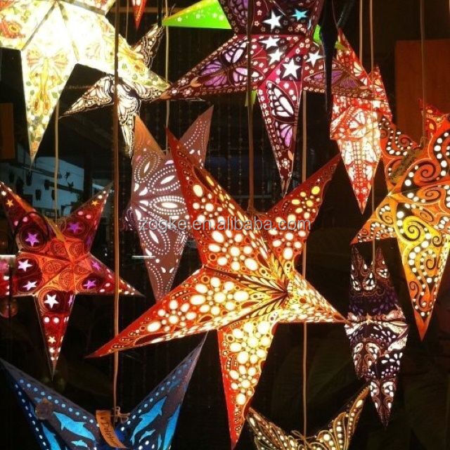 5/7 angles hanging christmas decoration operated led light paper star