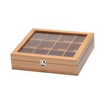 Custom lacquered 9 compartments Chinese gift wooden tea packaging storage box with glass top lid