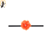 haoxie brand custom wholeslae chiffon filmy flower shape elastic hair head band baby headband