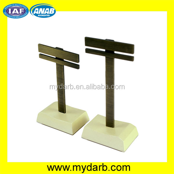 Handmade customized golden metal earring display stand t bar