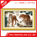 two tigers animal cross stitch 14CT 100% cotton fabric wall decoration