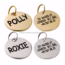 Dog ID Tag Custom Personalized Engraved Brass Silver Pet Name Single Dual Side