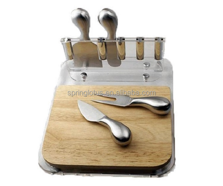 Pine wood cheese cutting board and knives set with acrylic holder