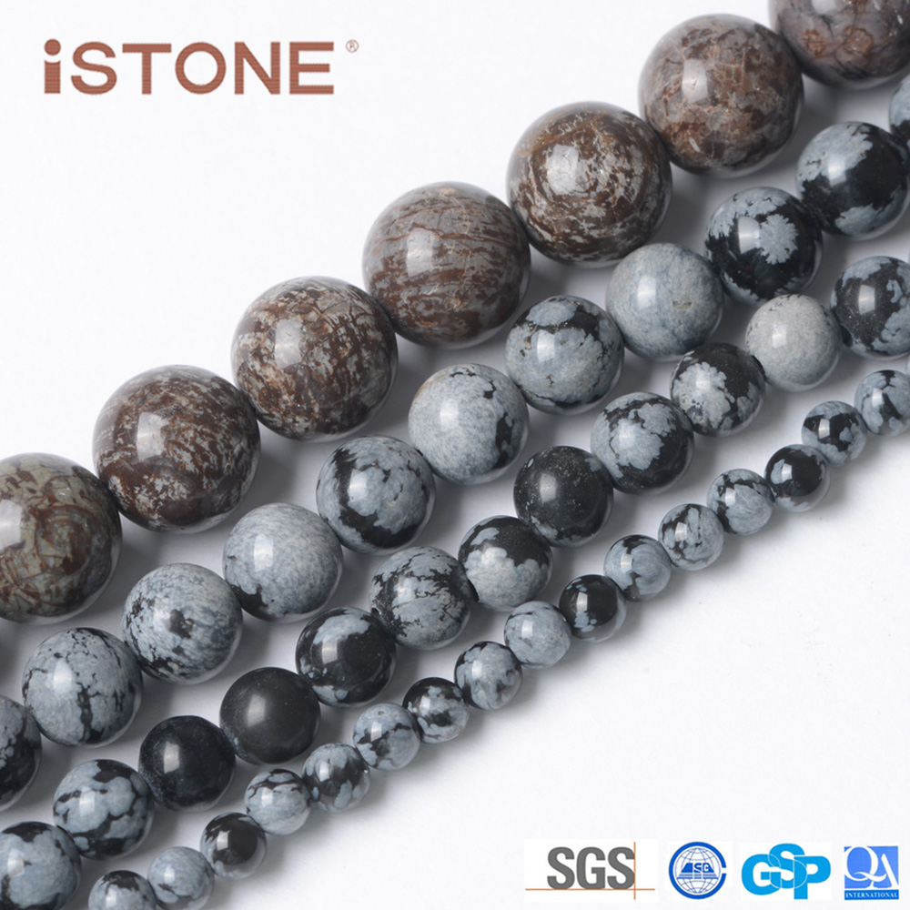 Istone Hot Selling Snowflake Round Loose Beads Stone 6mm For Jewelry Making